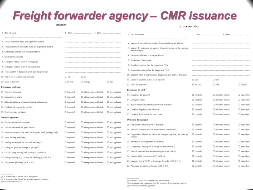 Freight forwarder agency – CMR issuance