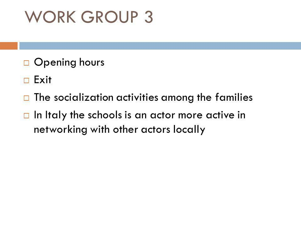 WORK GROUP 3  Opening hours  Exit  The socialization activities among the families  In Italy the schools is an actor more active in networking with other actors locally