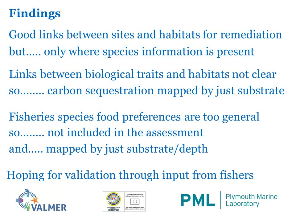 Findings Good links between sites and habitats for remediation Links between biological traits and habitats not clear Fisheries species food preferences are too general but…..