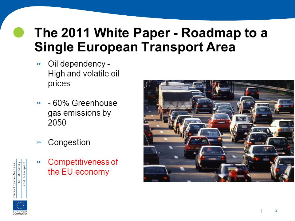 | 2 The 2011 White Paper - Roadmap to a Single European Transport Area » Oil dependency - High and volatile oil prices » - 60% Greenhouse gas emissions by 2050 » Congestion » Competitiveness of the EU economy