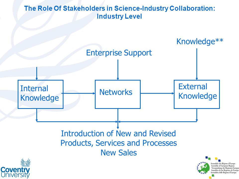 Internal Knowledge Networks External Knowledge Introduction of New and Revised Products, Services and Processes New Sales Enterprise Support Knowledge** The Role Of Stakeholders in Science-Industry Collaboration: Industry Level