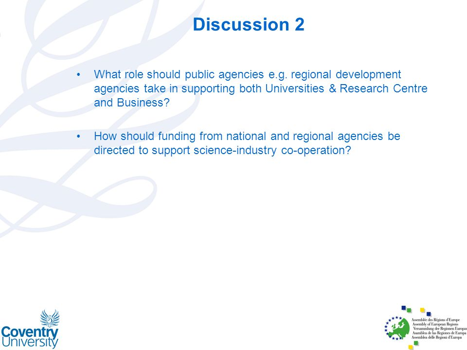 Discussion 2 What role should public agencies e.g.