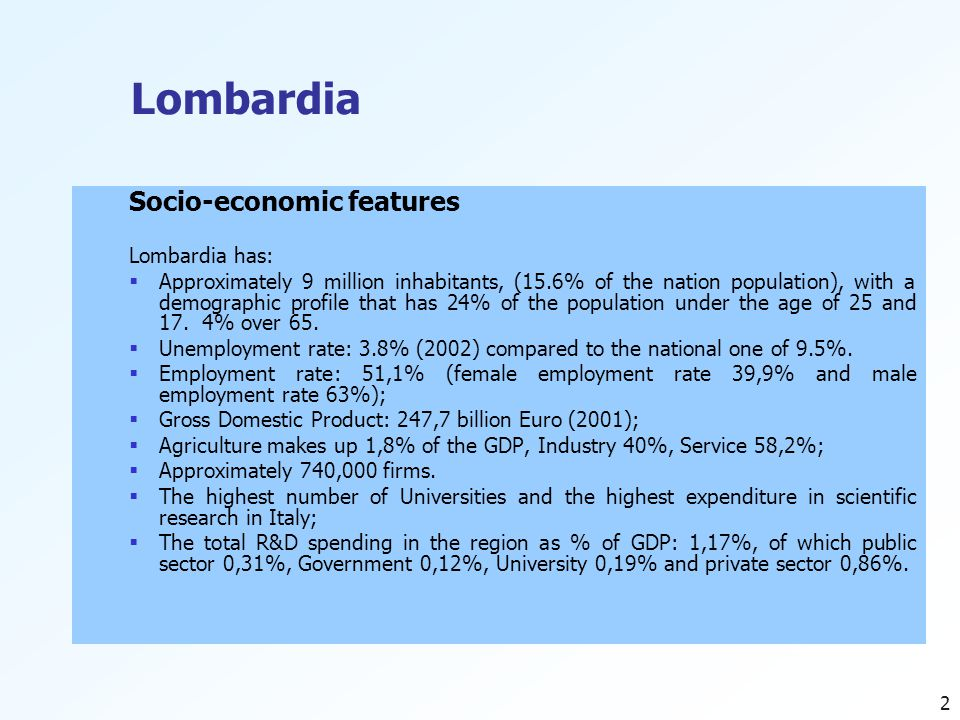 2 Lombardia Socio-economic features Lombardia has:  Approximately 9 million inhabitants, (15.6% of the nation population), with a demographic profile that has 24% of the population under the age of 25 and 17.