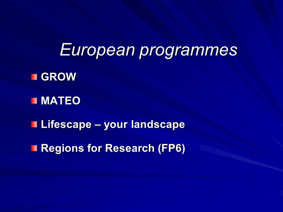 European programmes GROW GROW MATEO MATEO Lifescape – your landscape Lifescape – your landscape Regions for Research (FP6) Regions for Research (FP6)