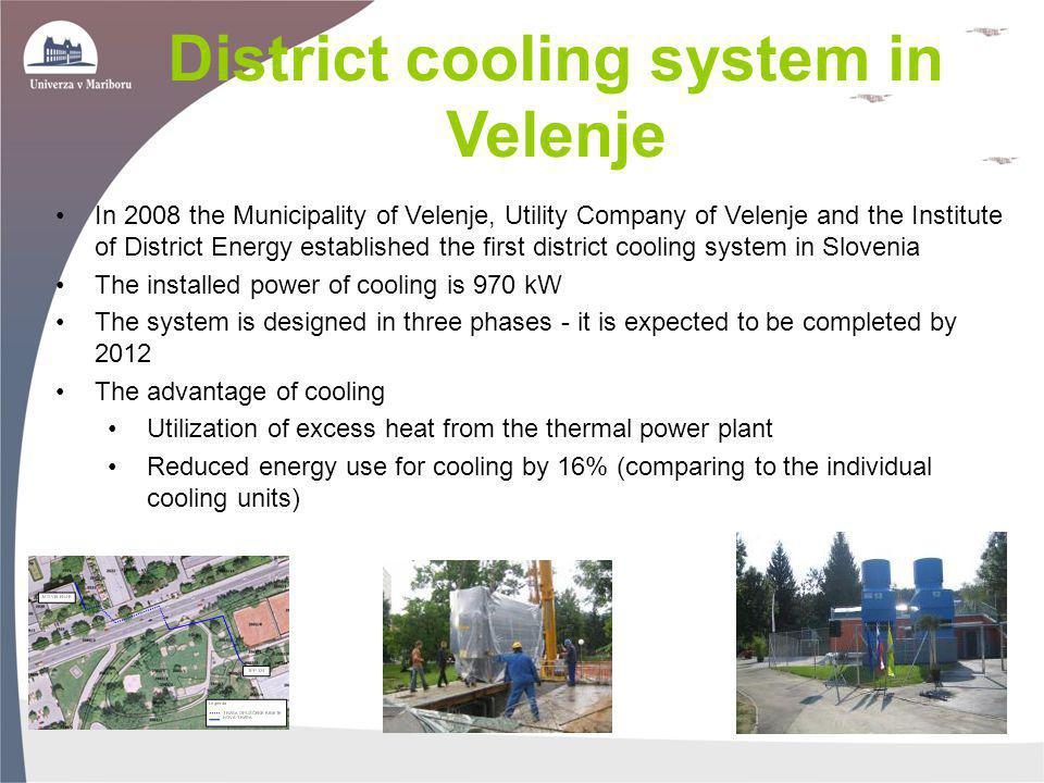 In 2008 the Municipality of Velenje, Utility Company of Velenje and the Institute of District Energy established the first district cooling system in