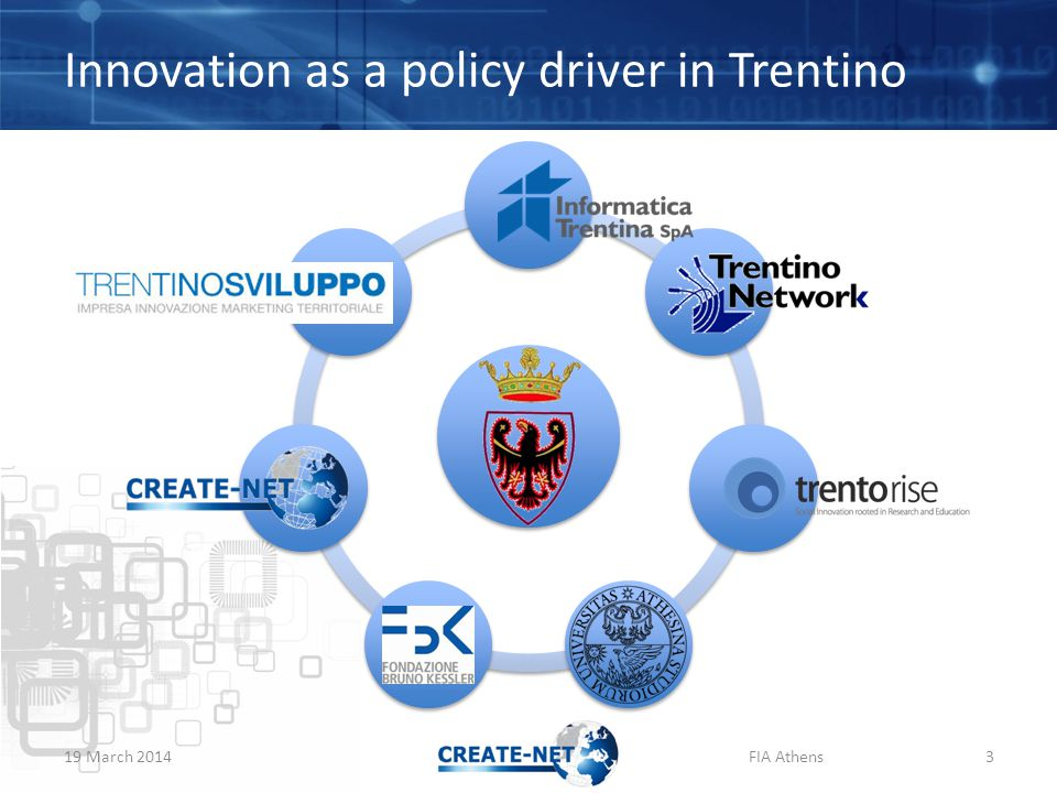 Innovation as a policy driver in Trentino 19 March 2014FIA Athens3