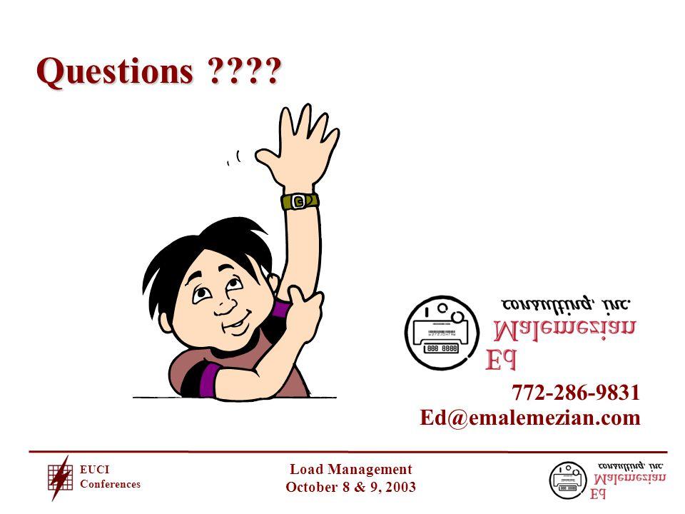 EUCI Conferences Load Management October 8 & 9, 2003 Questions .