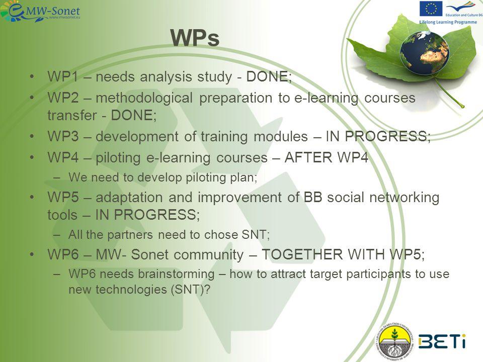 MW-Sonet WORK PLAN 7 200920102011 P0P1P2P3P4P5P6P7P8 101112123456789101112123456789 LT1LT2BGDKELHUISLT3TR ZUIBETIZUM Block 1 WP1 Needs analysis study ++P4+++ WP2 Methodological preparation to e- learning courses transfer ++P6+ WP3 Development of training modules P1++++ WP4 Piloting – implementation and trials ++++P5++ Block 2 WP5 Adaptation and improvements of Building Bridges social networking tools +P2+++++ WP6 MW-Sonet community +++P3+++++