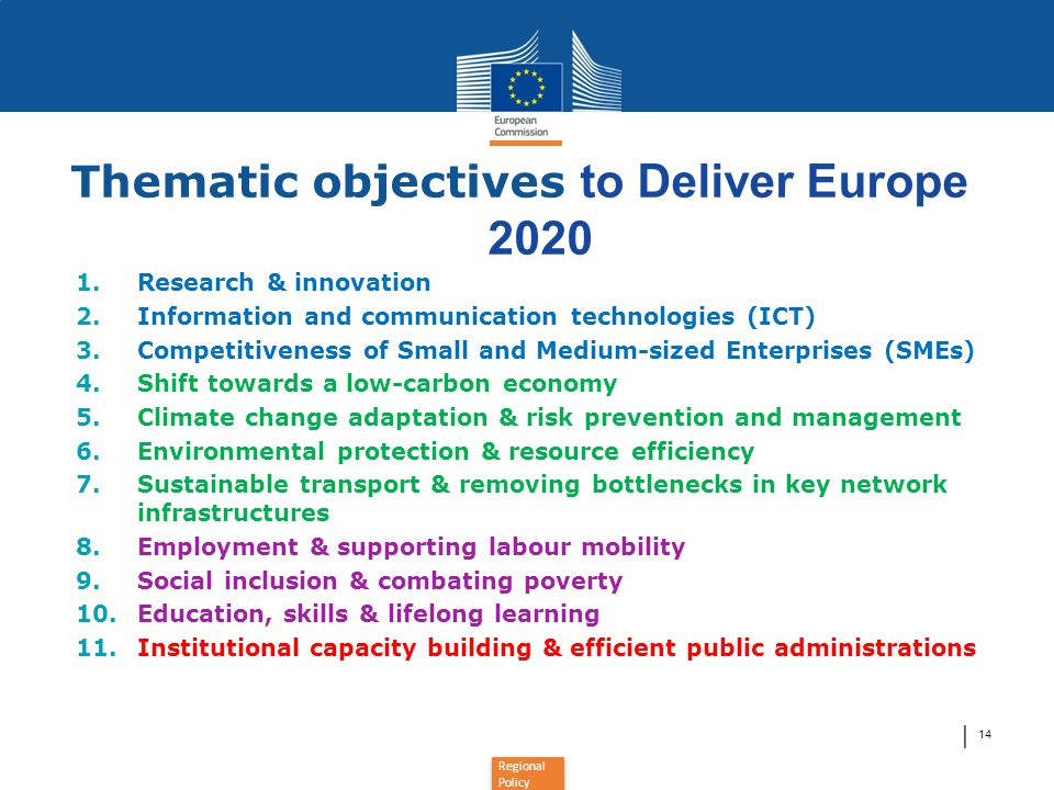 │ 14 Thematic objectives to Deliver Europe 2020 1.Research & innovation 2.Information and communication technologies (ICT) 3.Competitiveness of Small and Medium-sized Enterprises (SMEs) 4.Shift towards a low-carbon economy 5.Climate change adaptation & risk prevention and management 6.Environmental protection & resource efficiency 7.Sustainable transport & removing bottlenecks in key network infrastructures 8.Employment & supporting labour mobility 9.Social inclusion & combating poverty 10.Education, skills & lifelong learning 11.Institutional capacity building & efficient public administrations