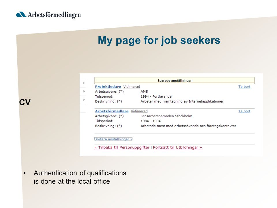 My page for job seekers Requests from employers Alerts via sms or e-mail CV