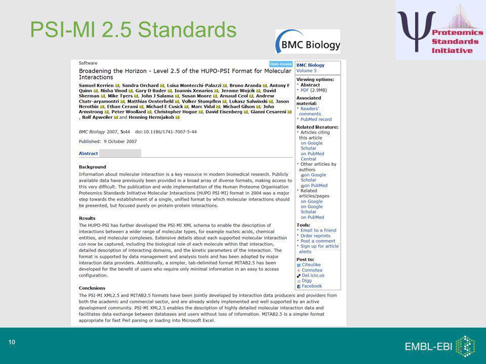 10 PSI-MI 2.5 Standards