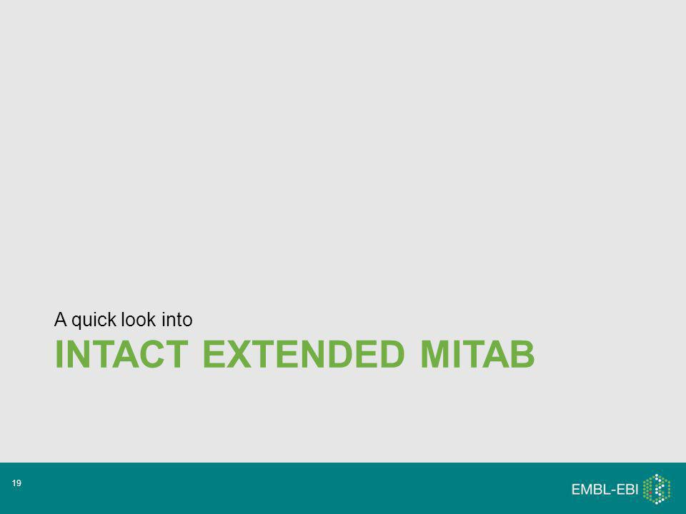 INTACT EXTENDED MITAB A quick look into 19