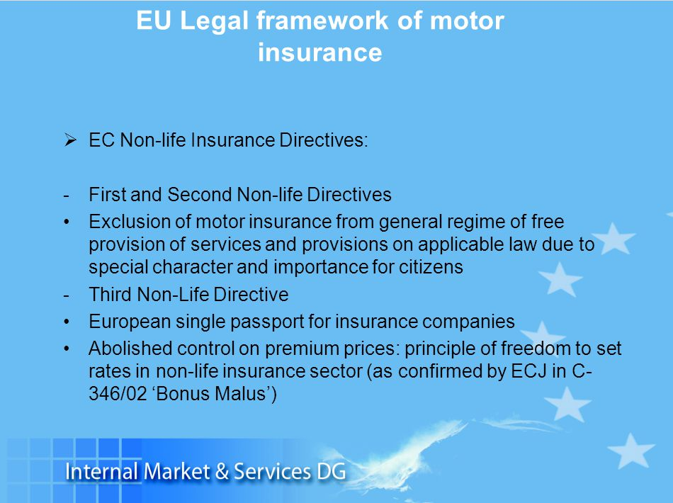 Slide 4 EU Legal framework of motor insurance  EC Non-life Insurance Directives: -First and Second Non-life Directives Exclusion of motor insurance f