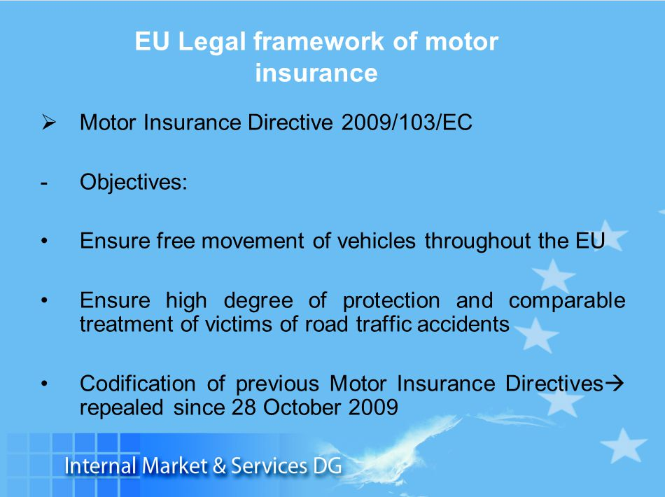 Slide 5 EU Legal framework of motor insurance  Motor Insurance Directive 2009/103/EC -Objectives: Ensure free movement of vehicles throughout the EU