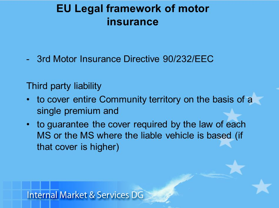 Slide 8 EU Legal framework of motor insurance -3rd Motor Insurance Directive 90/232/EEC Third party liability to cover entire Community territory on t