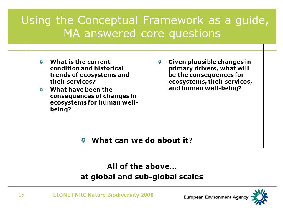 EIONET NRC Nature Biodiversity 200815 Using the Conceptual Framework as a guide, MA answered core questions Given plausible changes in primary drivers, what will be the consequences for ecosystems, their services, and human well-being.