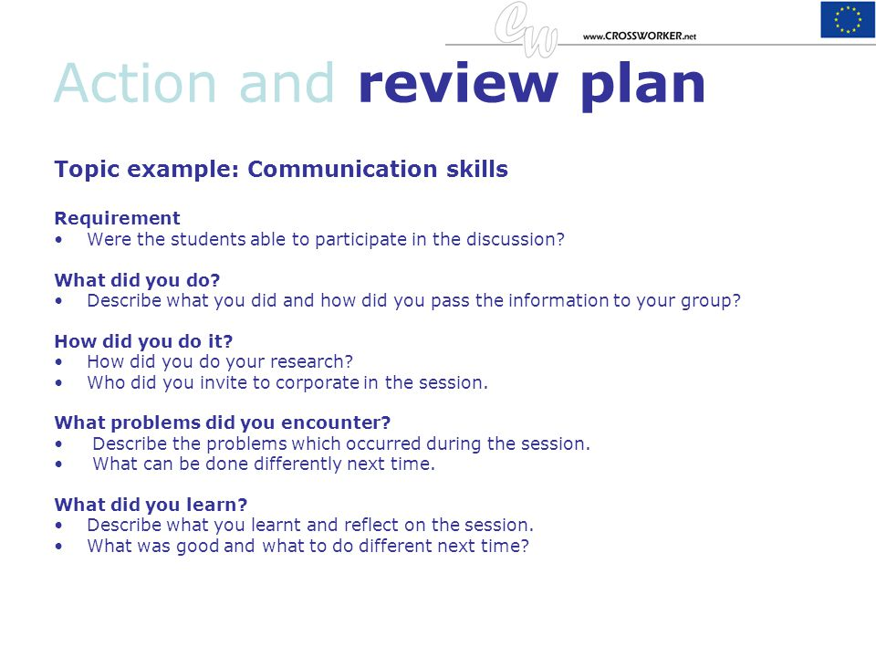 Action and review plan Topic example: Communication skills Requirement Were the students able to participate in the discussion? What did you do? Descr