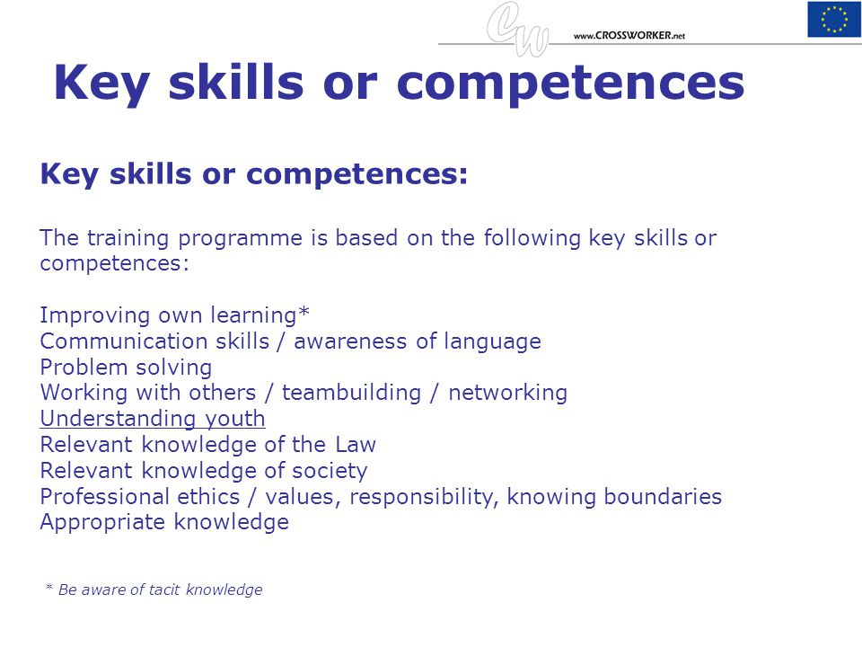 Key skills or competences Key skills or competences: The training programme is based on the following key skills or competences: Improving own learnin