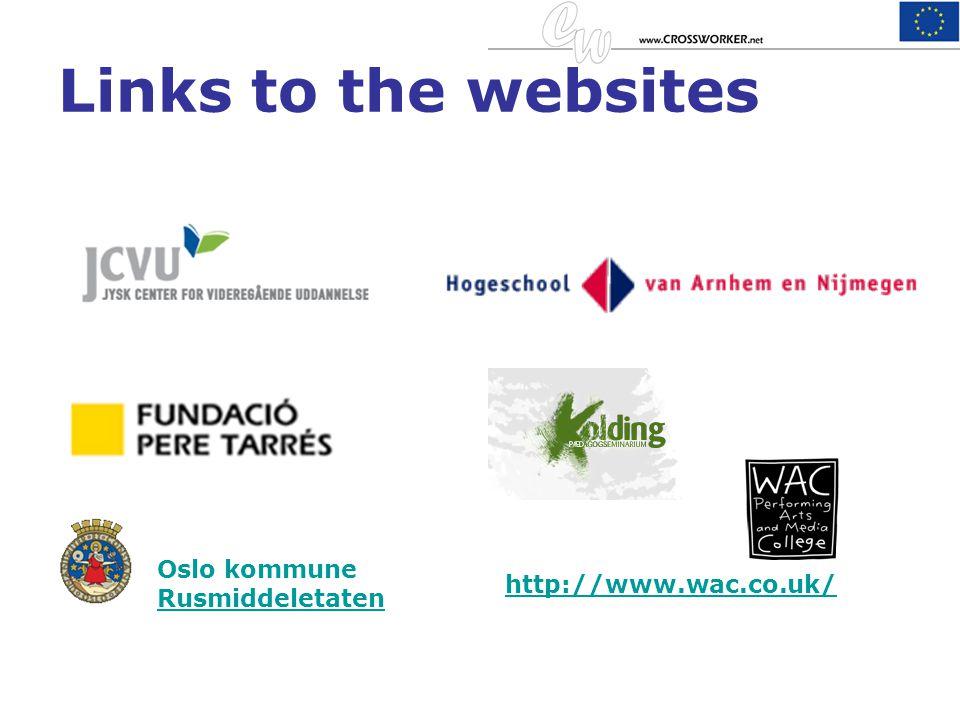 Links to the websites Oslo kommune Rusmiddeletaten http://www.wac.co.uk/