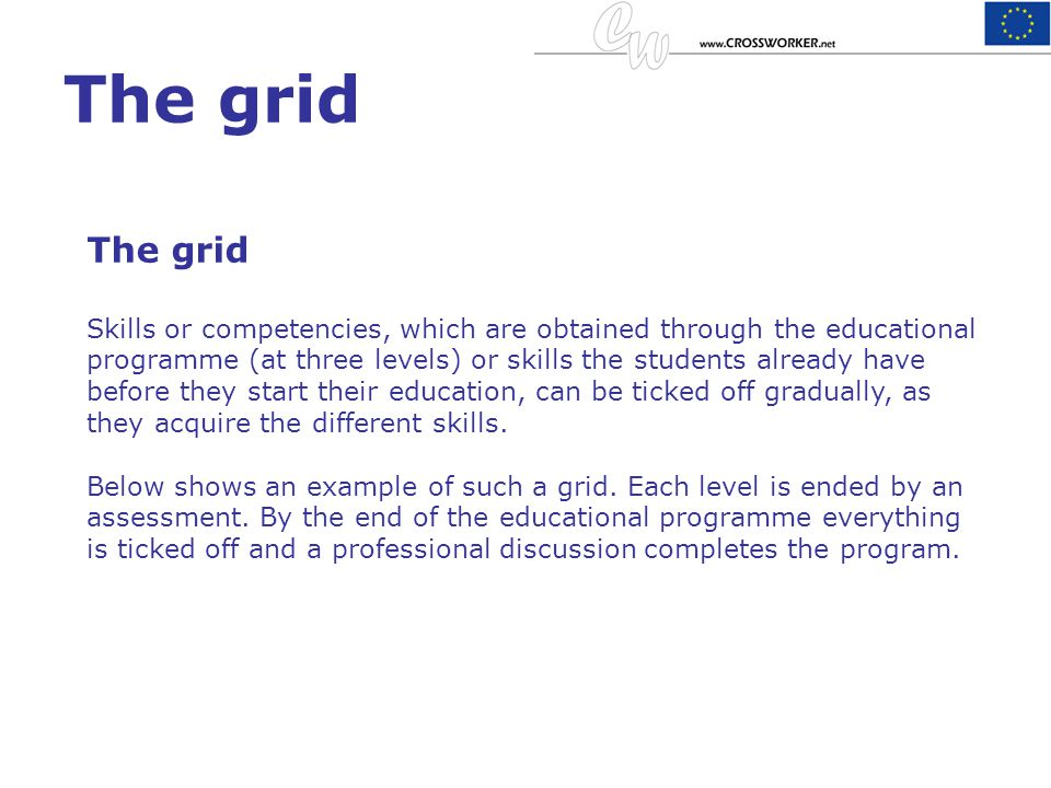 The grid Skills or competencies, which are obtained through the educational programme (at three levels) or skills the students already have before the