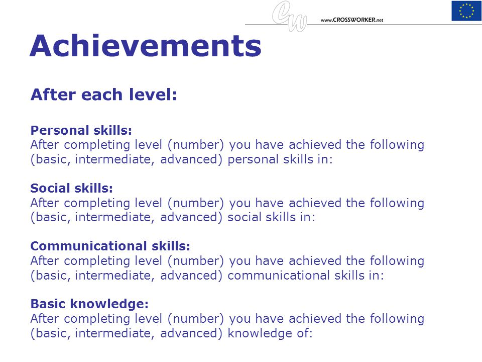 Achievements After each level: Personal skills: After completing level (number) you have achieved the following (basic, intermediate, advanced) person