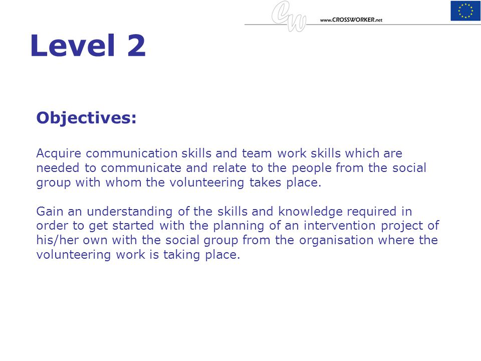 Level 2 Objectives: Acquire communication skills and team work skills which are needed to communicate and relate to the people from the social group w