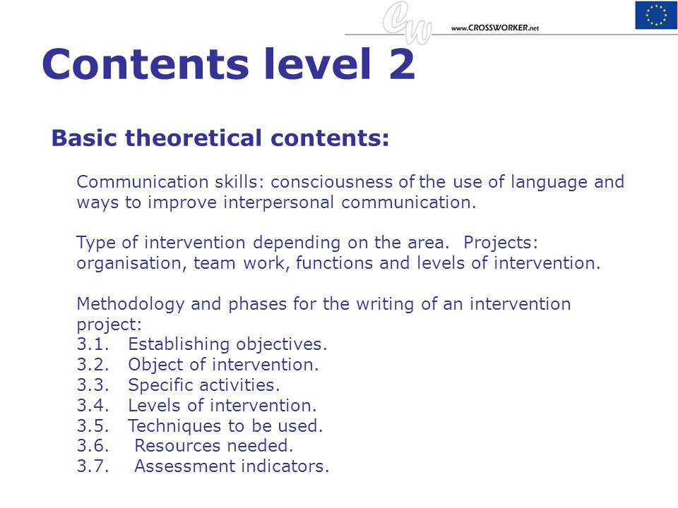Contents level 2 Basic theoretical contents: Communication skills: consciousness of the use of language and ways to improve interpersonal communicatio