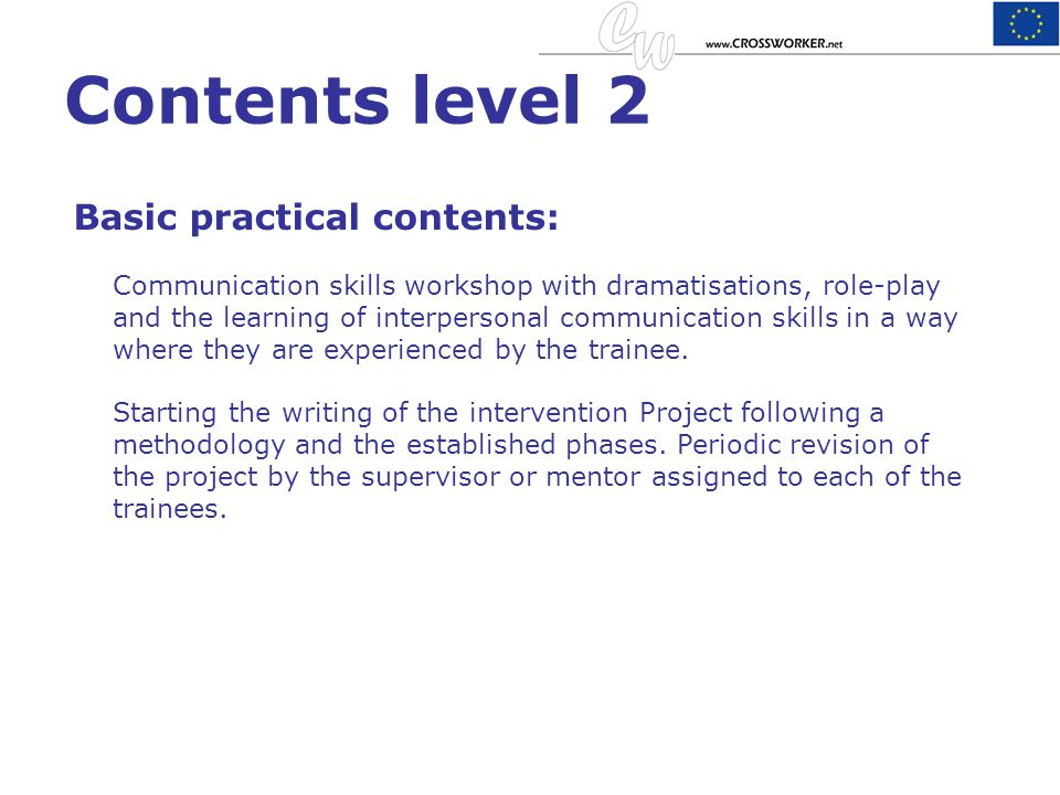 Contents level 2 Basic practical contents: Communication skills workshop with dramatisations, role-play and the learning of interpersonal communicatio