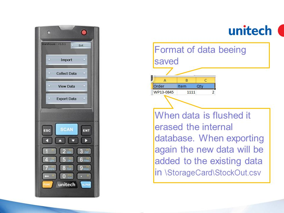 Format of data beeing saved When data is flushed it erased the internal database.