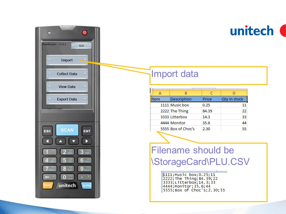Import data Filename should be \StorageCard\PLU.CSV