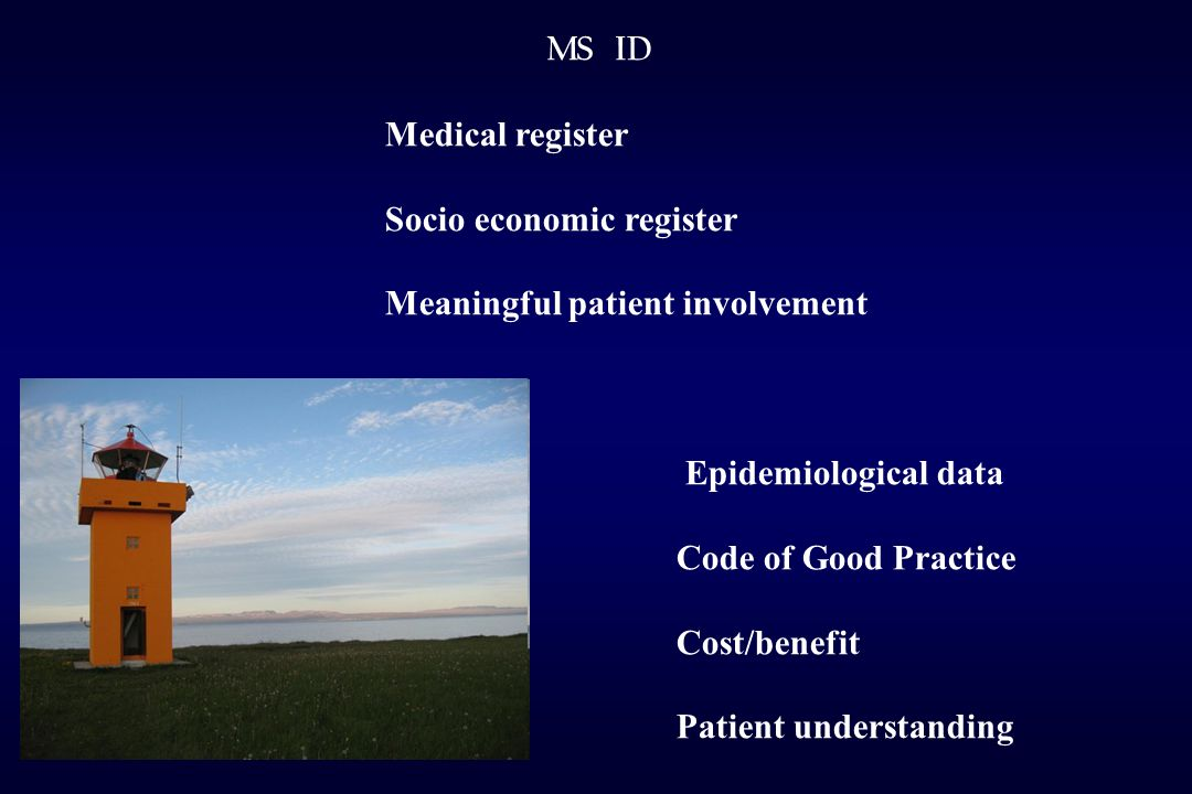MS ID Medical register Socio economic register Meaningful patient involvement Epidemiological data Code of Good Practice Cost/benefit Patient understanding