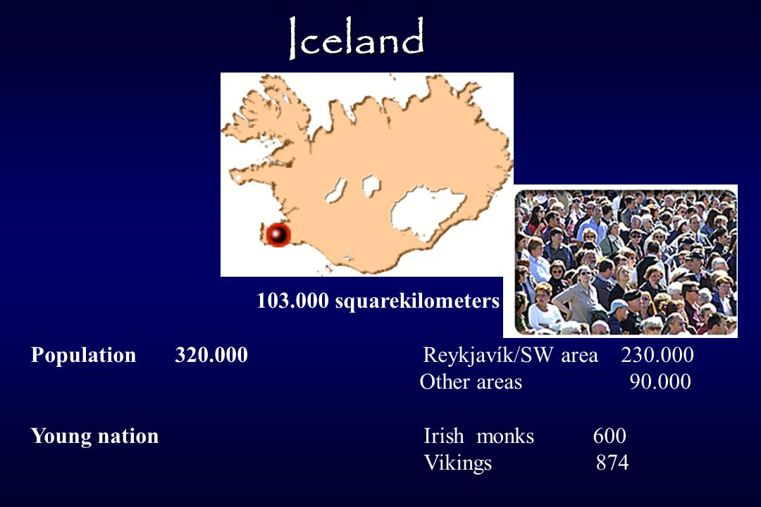103.000 squarekilometers Population 320.000 Reykjavík/SW area 230.000 Other areas 90.000 Young nation Irish monks 600 Vikings 874 Iceland