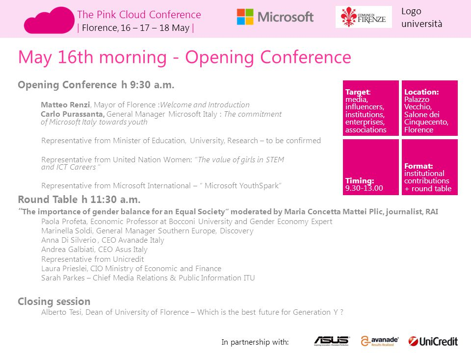 The Pink Cloud Conference   Florence, 16 – 17 – 18 May   Logo università In partnership with: May 16th afternoon- Opening conference for girls Opening Conference 3 p.m.