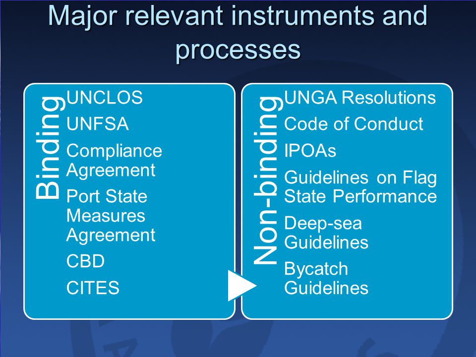 Major relevant instruments and processes Binding UNCLOS UNFSA Compliance Agreement Port State Measures Agreement CBD CITES Non-binding UNGA Resolutions Code of Conduct IPOAs Guidelines on Flag State Performance Deep-sea Guidelines Bycatch Guidelines