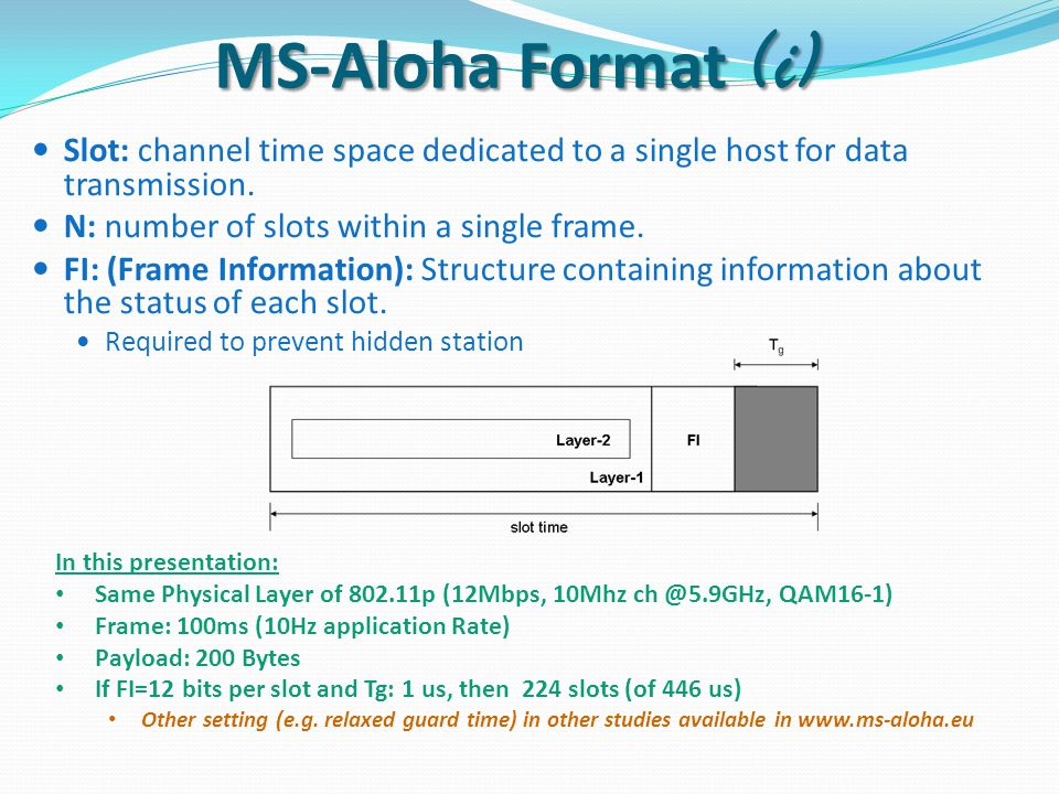 Slot: channel time space dedicated to a single host for data transmission.