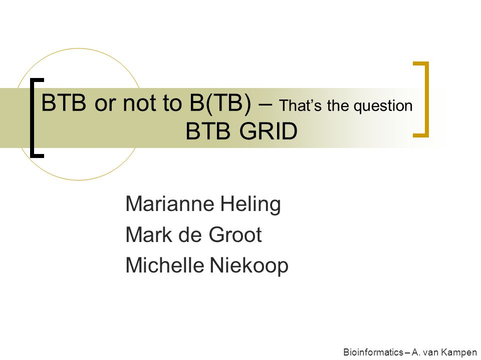 BTB or not to B(TB) – That's the question BTB GRID Marianne Heling Mark de Groot Michelle Niekoop Bioinformatics – A.