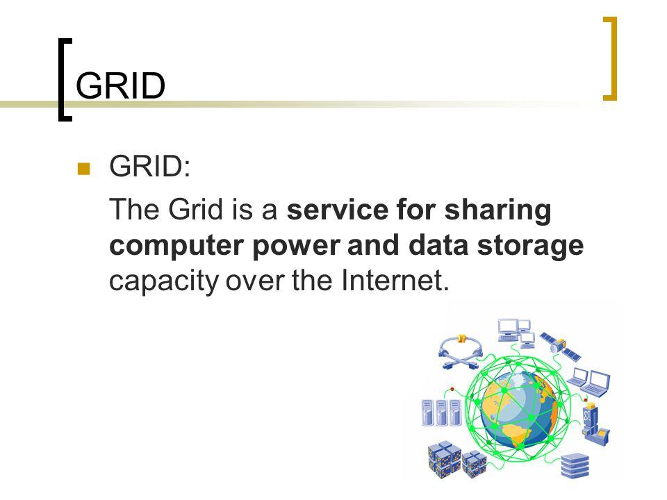 GRID Types:  Data GRID  Computing GRID  Knowledge GRID  Information GRID