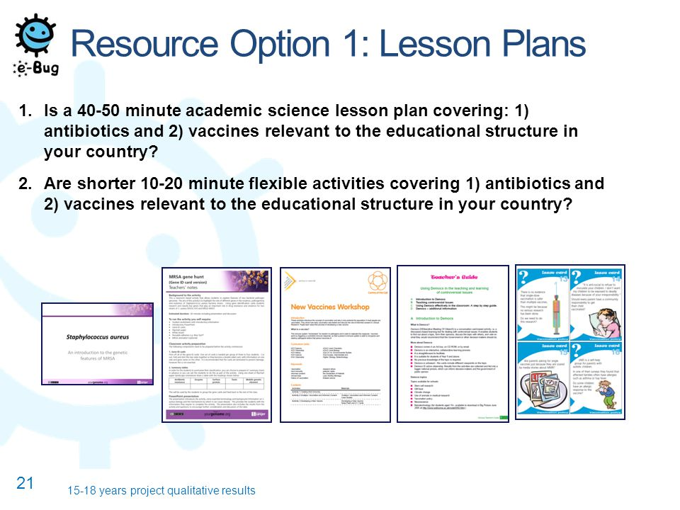 Resource Option 1: Lesson Plans 1.Is a 40-50 minute academic science lesson plan covering: 1) antibiotics and 2) vaccines relevant to the educational structure in your country.