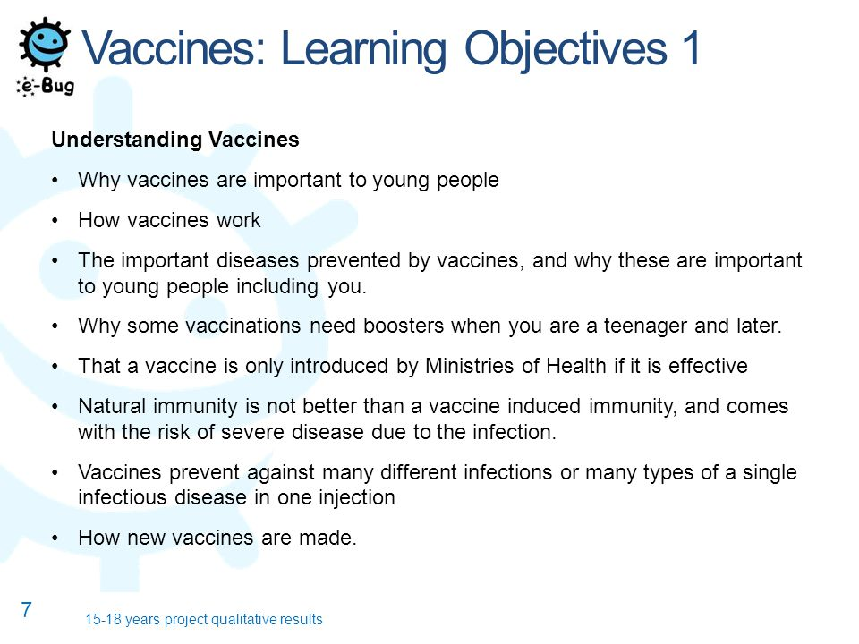 Vaccines: Learning Objectives 1 Understanding Vaccines Why vaccines are important to young people How vaccines work The important diseases prevented b