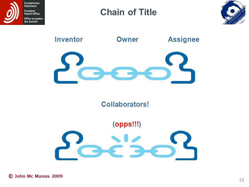 © © John Mc Manus 2009 Chain of Title Inventor OwnerAssignee Collaborators! (opps!!!) 13