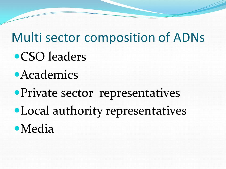 Multi sector composition of ADNs CSO leaders Academics Private sector representatives Local authority representatives Media