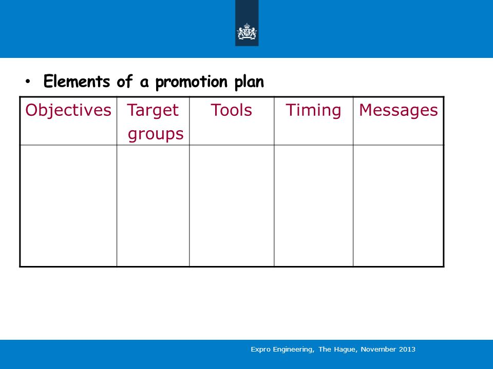 Elements of a promotion plan ObjectivesTarget groups ToolsTimingMessages Expro Engineering, The Hague, November 2013