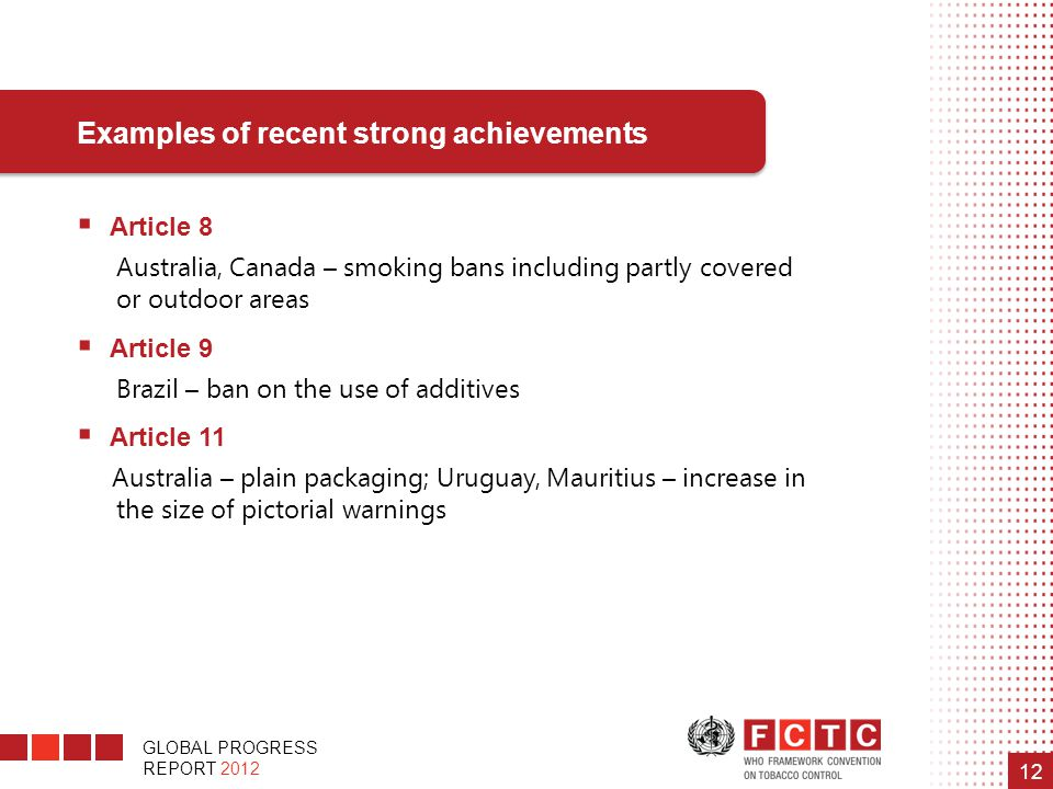 GLOBAL PROGRESS REPORT 2012 12  Article 8 Australia, Canada – smoking bans including partly covered or outdoor areas  Article 9 Brazil – ban on the