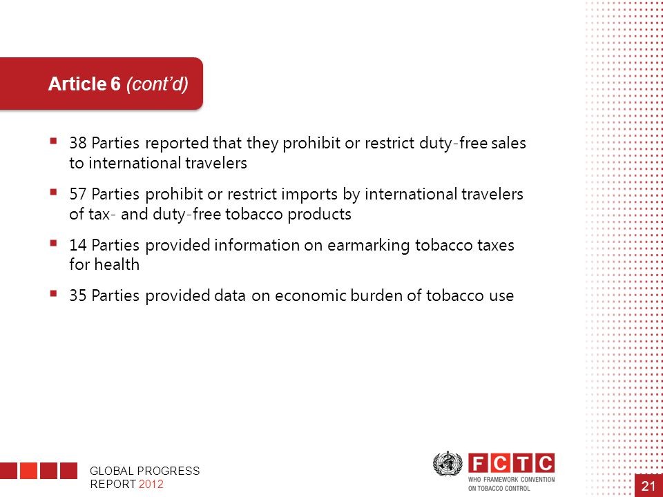 GLOBAL PROGRESS REPORT 2012 21 Article 6 (cont'd)  38 Parties reported that they prohibit or restrict duty-free sales to international travelers  57