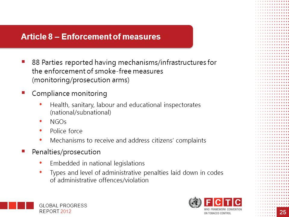 GLOBAL PROGRESS REPORT 2012 25 Article 8 – Enforcement of measures  88 Parties reported having mechanisms/infrastructures for the enforcement of smok