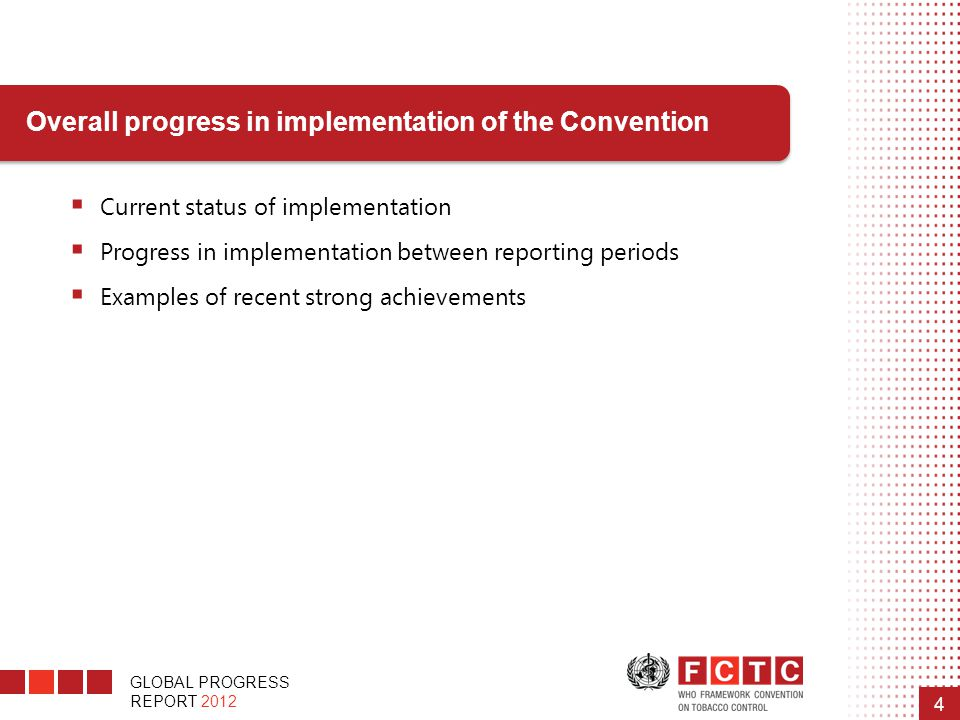 GLOBAL PROGRESS REPORT 2012 4 Overall progress in implementation of the Convention  Current status of implementation  Progress in implementation bet