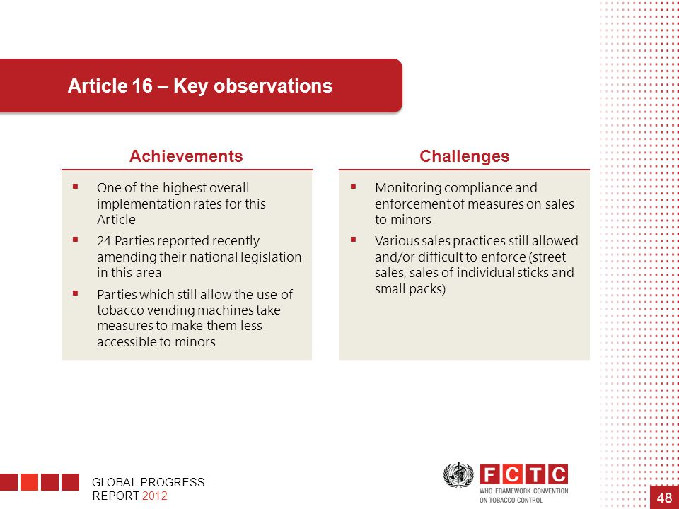 GLOBAL PROGRESS REPORT 2012 48 Article 16 – Key observations AchievementsChallenges  One of the highest overall implementation rates for this Article