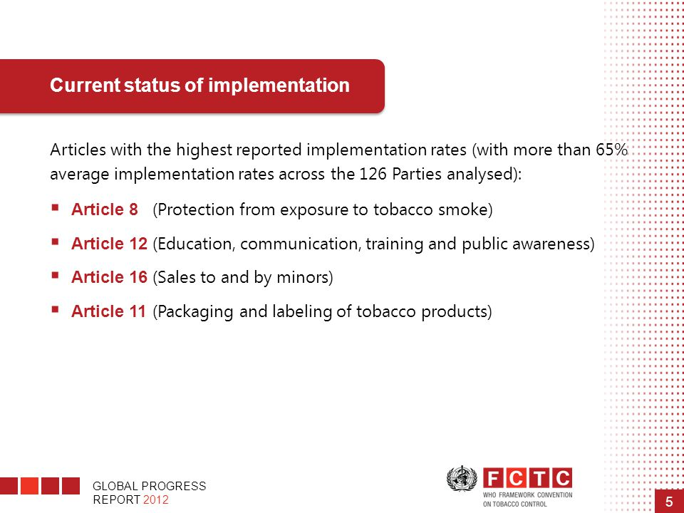 GLOBAL PROGRESS REPORT 2012 5 Articles with the highest reported implementation rates (with more than 65% average implementation rates across the 126