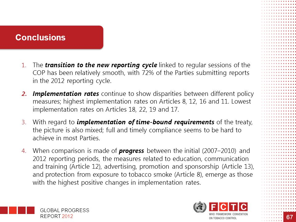 GLOBAL PROGRESS REPORT 2012 67 1. The transition to the new reporting cycle linked to regular sessions of the COP has been relatively smooth, with 72%