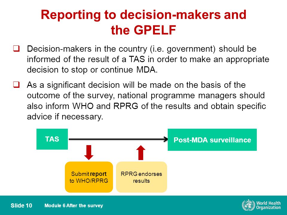 Module 6 After the survey Reporting to decision-makers and the GPELF Slide 10  Decision-makers in the country (i.e.
